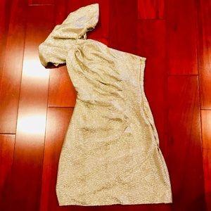 🛍 beautiful one shouldered metallic dress 🛍